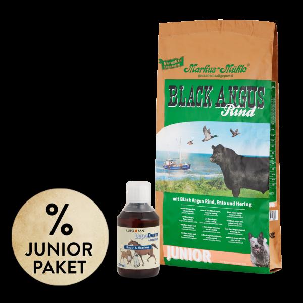 Junior-Paket BLACK ANGUS JUNIOR 15 kg + LUPO Derm 250 ml